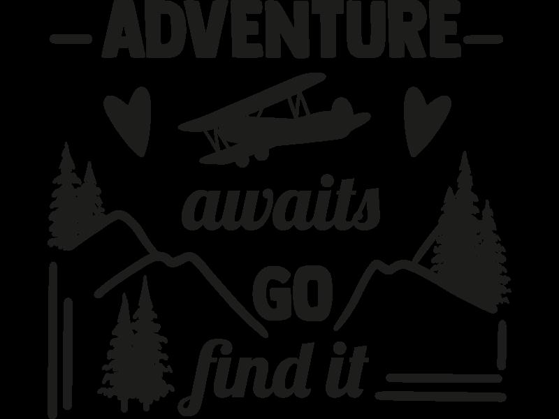 Versierendoejezo Muursticker adventure awaits go find it in de kleur zwart