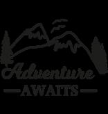 Versierendoejezo Muursticker adventure awaits in de kleur zwart
