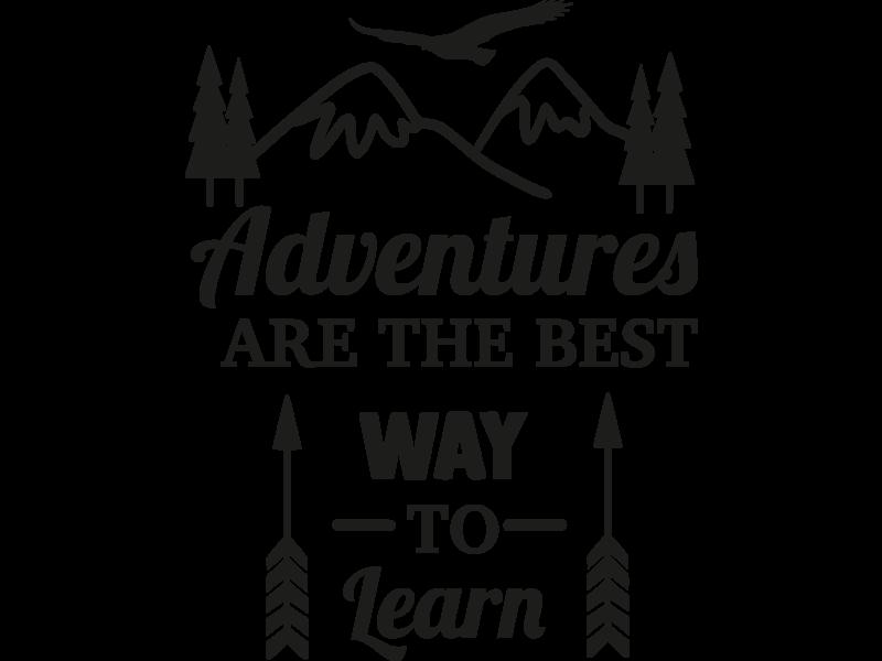 Versierendoejezo Muursticker adventures are the best way to learn in de kleur zwart