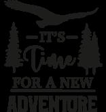 Versierendoejezo Muursticker its time for a new adventure in de kleur zwart
