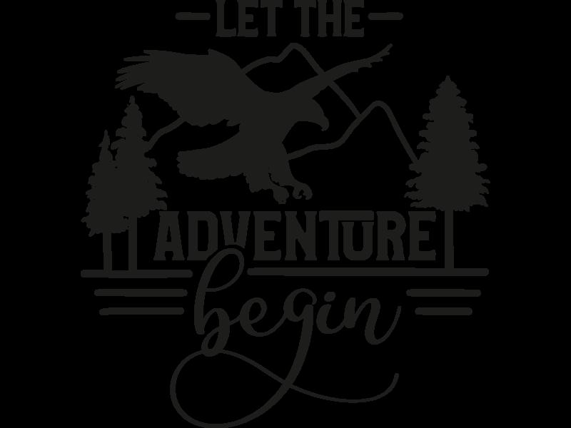 Versierendoejezo Muursticker let the adventure begin in de kleur zwart