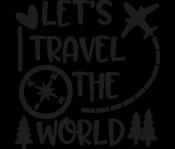 Versierendoejezo Muursticker lets travel the world in de kleur zwart