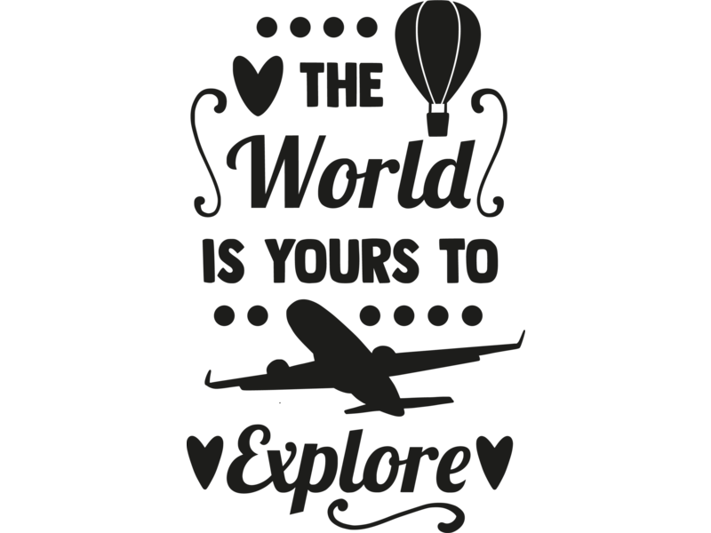 Versierendoejezo Muursticker the world is yours to explore in de kleur zwart