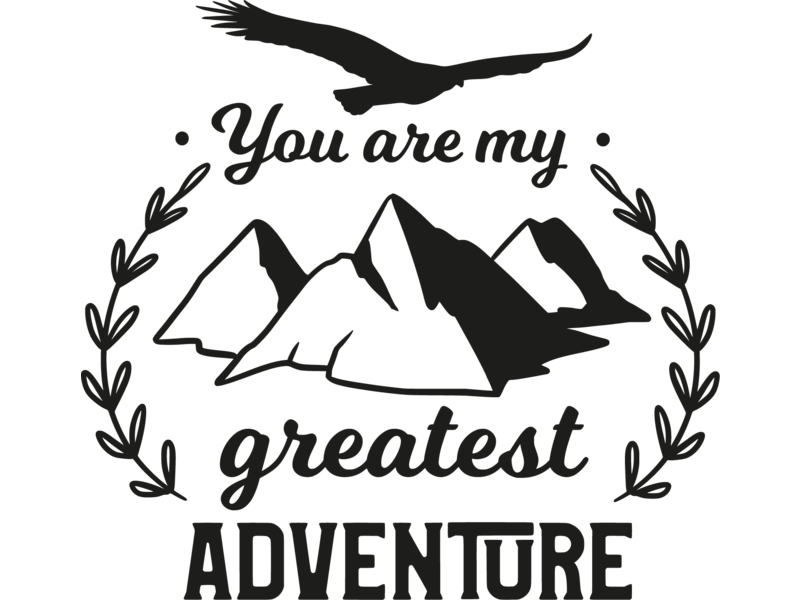 Versierendoejezo Muursticker you are my greatest adventure in de kleur zwart