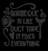 Versierendoejezo Muursticker barbeque is like duct tape it fixes everything in de kleur zwart