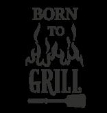 Versierendoejezo Muursticker born to grill in de kleur zwart