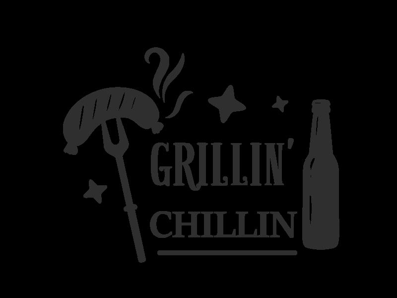 Versierendoejezo Muursticker grillin chillin in de kleur zwart