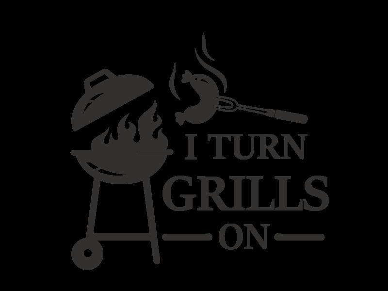 Versierendoejezo Muursticker i turn grills on in de kleur zwart