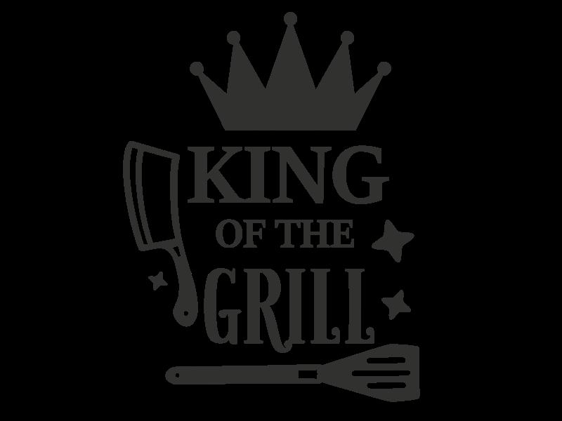 Versierendoejezo Muursticker king of the grill in de kleur zwart