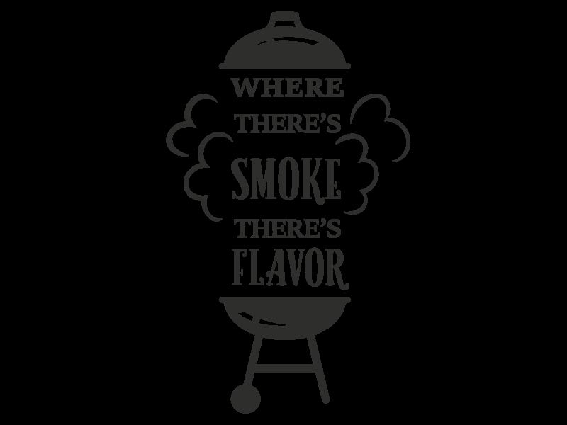Versierendoejezo Muursticker where theres smoke theres flavor in de kleur zwart