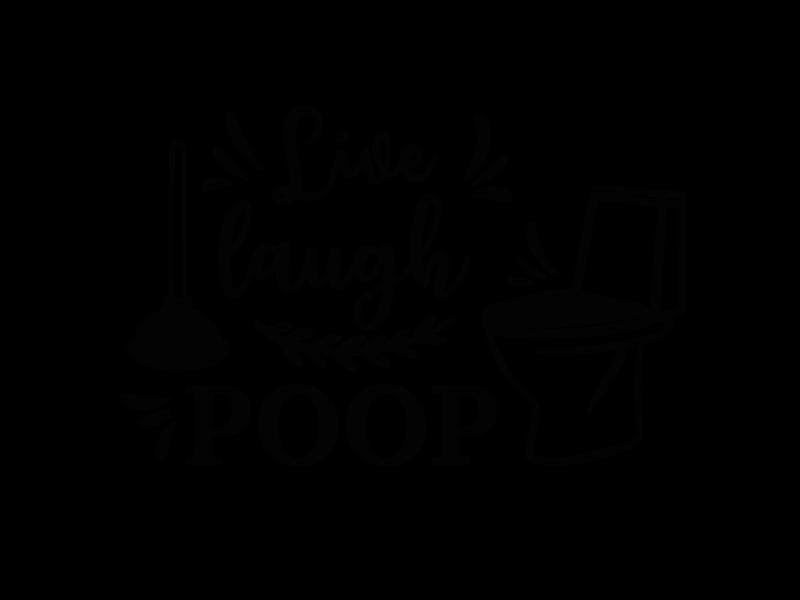 Versierendoejezo Muursticker live laugh poop in de kleur zwart
