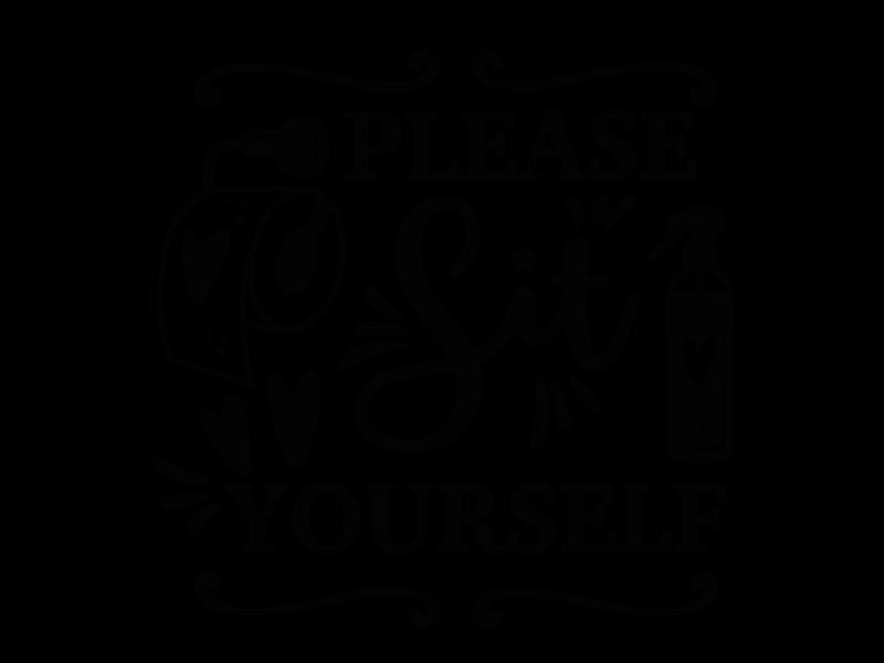 Versierendoejezo Muursticker please sit yourself in de kleur zwart