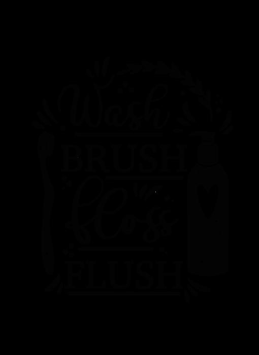 Versierendoejezo Muursticker wash brush floss flush in de kleur zwart