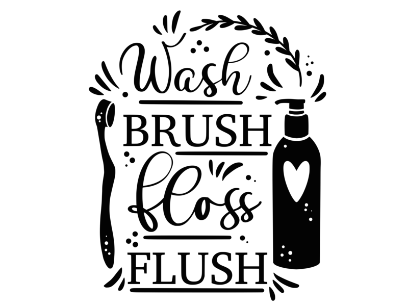 Versierendoejezo Muursticker wash brush floss flush in de kleur zwart