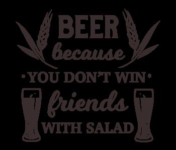 Versierendoejezo Muursticker beer because you dont win friends with salad in de kleur zwart