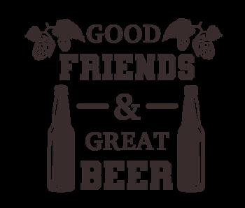 Versierendoejezo Muursticker good friends and great beer in de kleur zwart