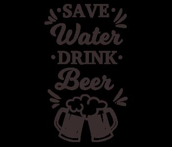Versierendoejezo Muursticker save water drink beer in de kleur zwart
