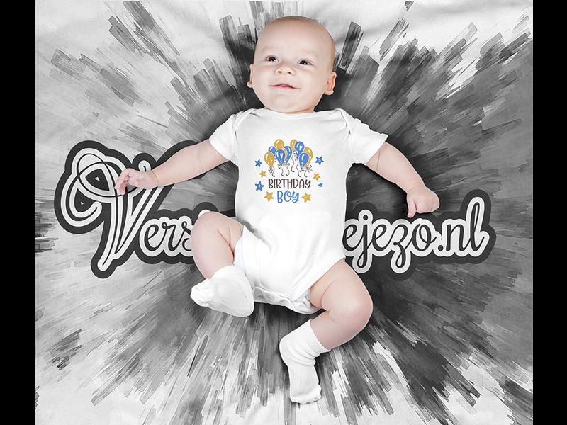 Romper birthday boy - Baby romper met tekst - korte mouw rompertje - maat 74-80 - kraamcadeau  zwangerschapscadeau babyshower baby kleding leuke tekst - rompertjes baby