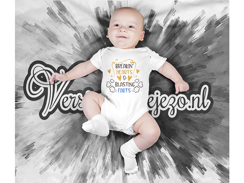 Romper breakin hearts and blasting farts - Baby romper met tekst - korte mouw rompertje - maat 74-80 - kraamcadeau  zwangerschapscadeau babyshower baby kleding leuke tekst - rompertjes baby