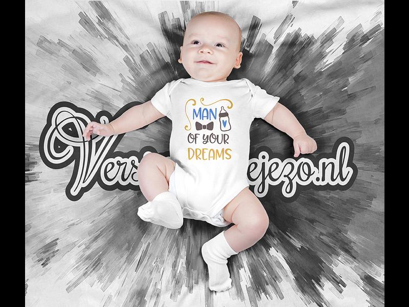 Romper man of your dreams - Baby romper met tekst - korte mouw rompertje - maat 74-80 - kraamcadeau  zwangerschapscadeau babyshower baby kleding leuke tekst - rompertjes baby