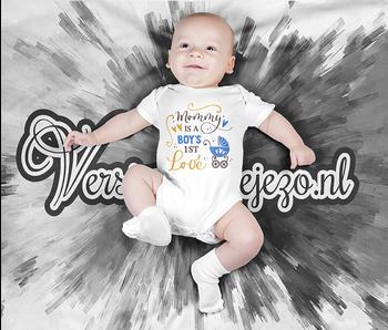 Romper mommy is a boys first love - Baby romper met tekst - korte mouw rompertje - maat 74-80 - kraamcadeau  zwangerschapscadeau babyshower baby kleding leuke tekst - rompertjes baby