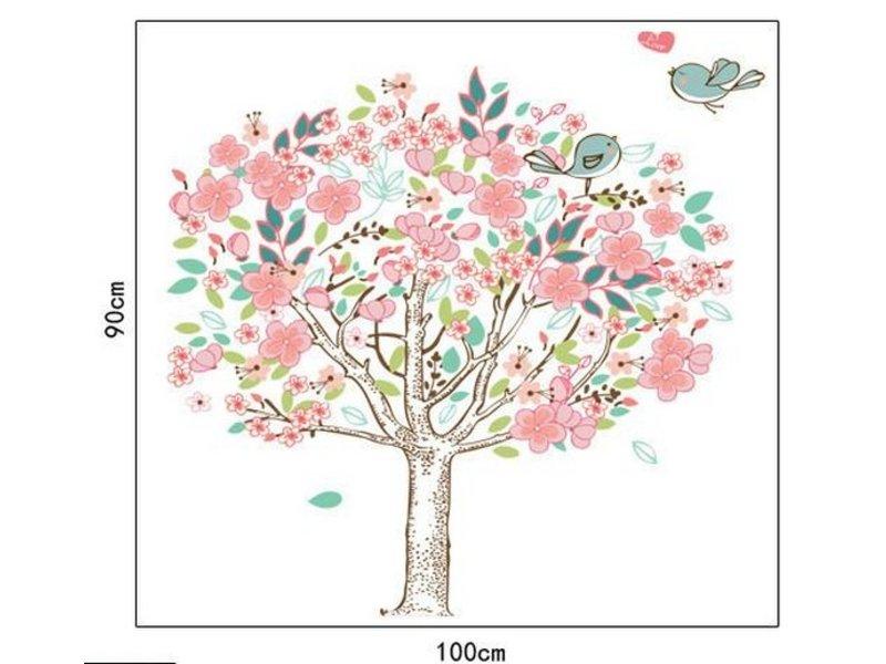 Roze boom met vogels muursticker