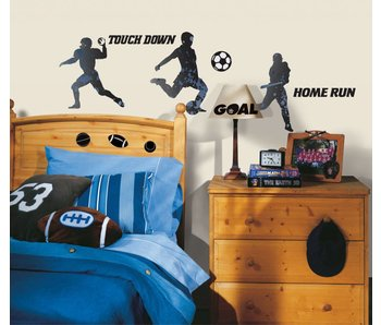 Roommates Football, voetbal en honkbal muursticker