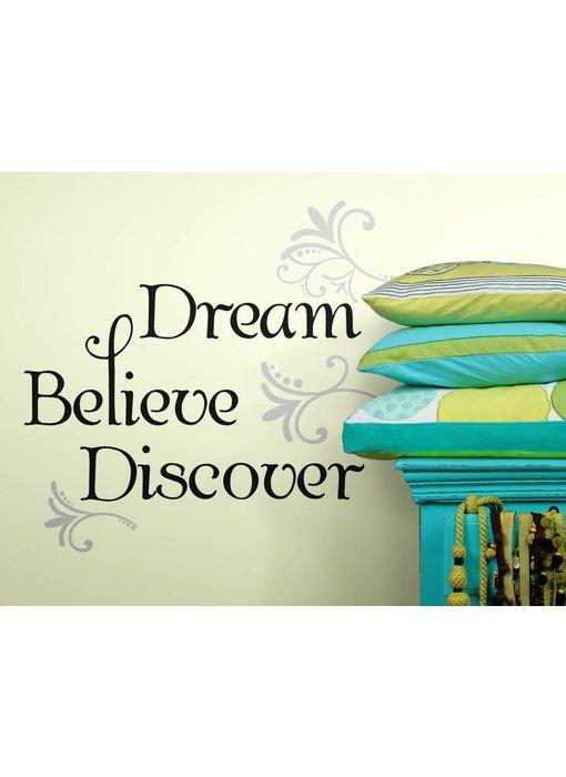 Roommates Dream Believe Discover tekststicker