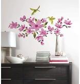 Roze bloemen met vogels muursticker