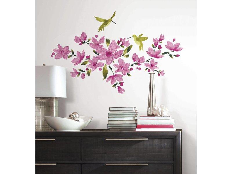 Roommates Roze bloemen met vogels muursticker