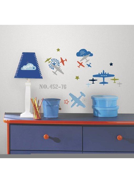 Roommates Gekleurde vliegtuigen muursticker