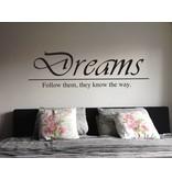 Muursticker Dreams of eigen tekst