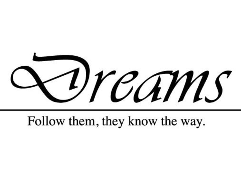 Muurtekststicker Dreams of eigen tekst