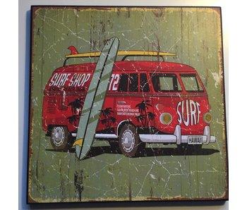 Clayre & Eef Surfbus vintage bord