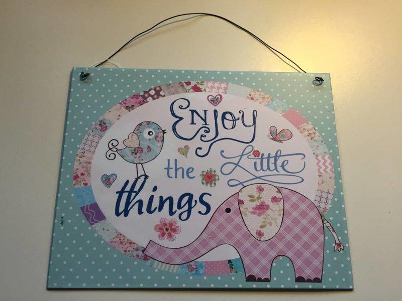 Clayre & Eef Baby olifant en vogel vintage bord