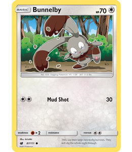 Pokemon Bunnelby - S&M CrIn 87/111 - Reverse