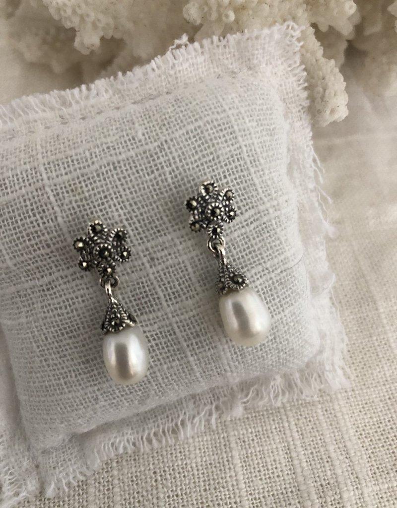 Zilveren oorbellen met parel