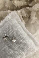 Ginko blad in zilver oorbellen met parel