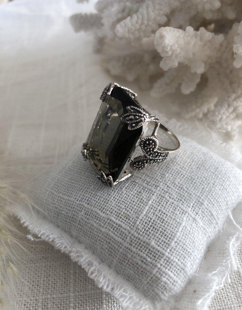 Ring in smoky quartz