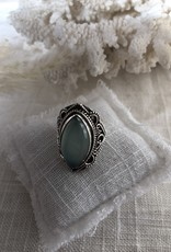 Oval ring with moonstone