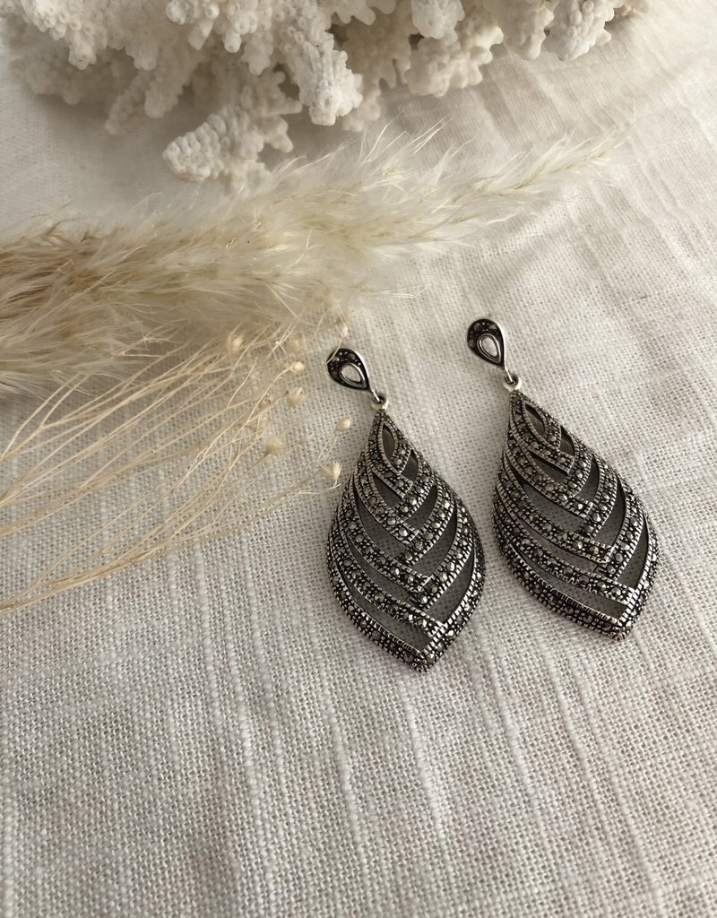 Earrings with marcasite