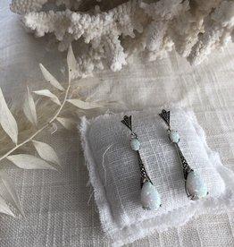 Art deco opaal oorbellen