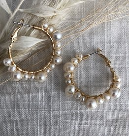 Round hoops with pearls