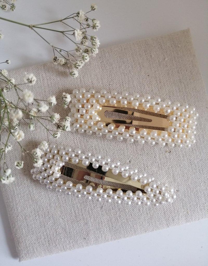 Set van 2 spelden met parels