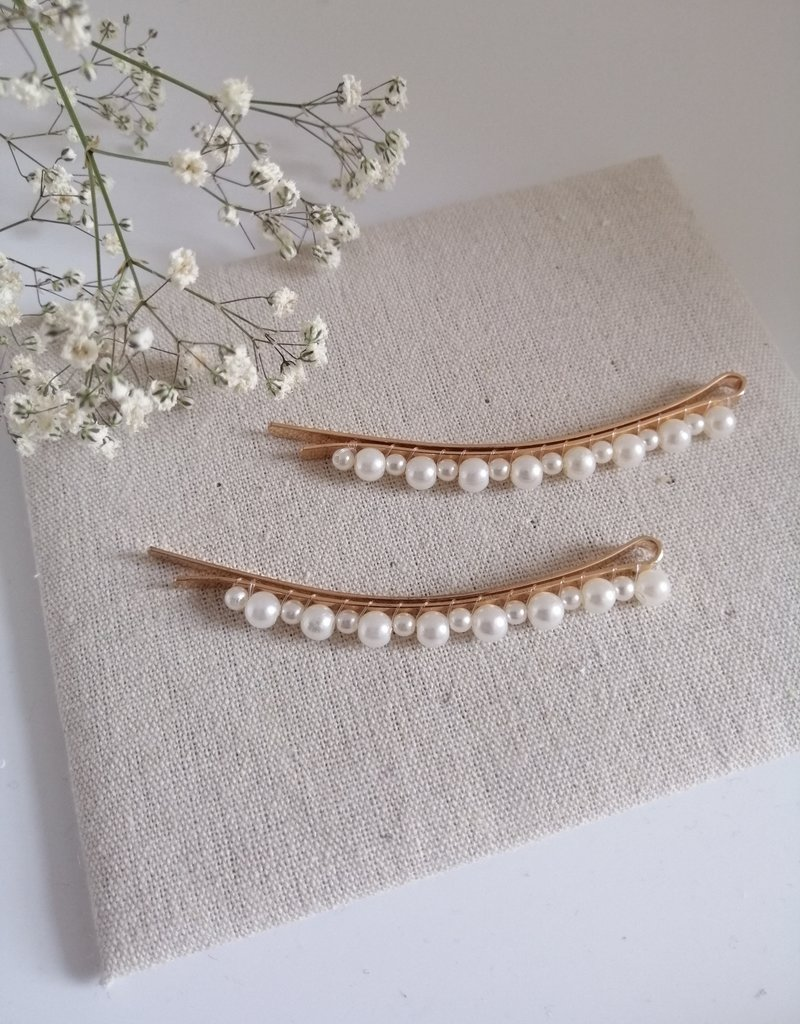 Set of 2 hairpins with pearls