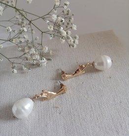 Oorbellen met parel goud/zilver
