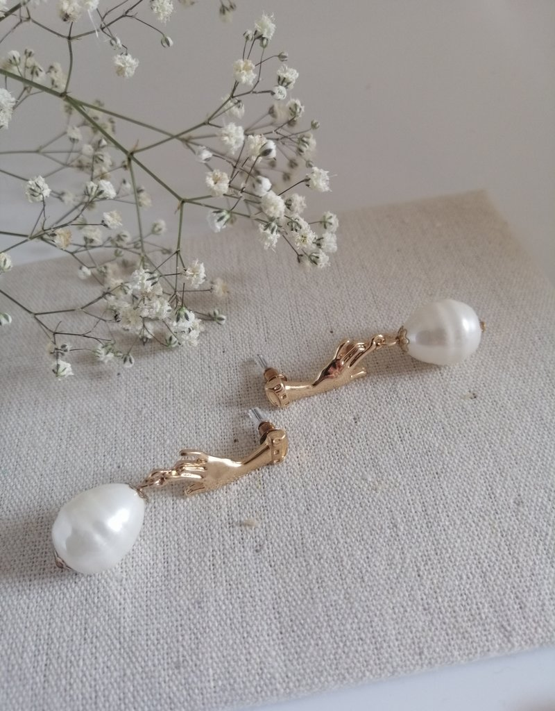 Oorbellen met parel goud/silver
