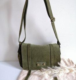 Suede bag green/bordeaux