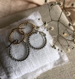 Earrings twisted silver/gold
