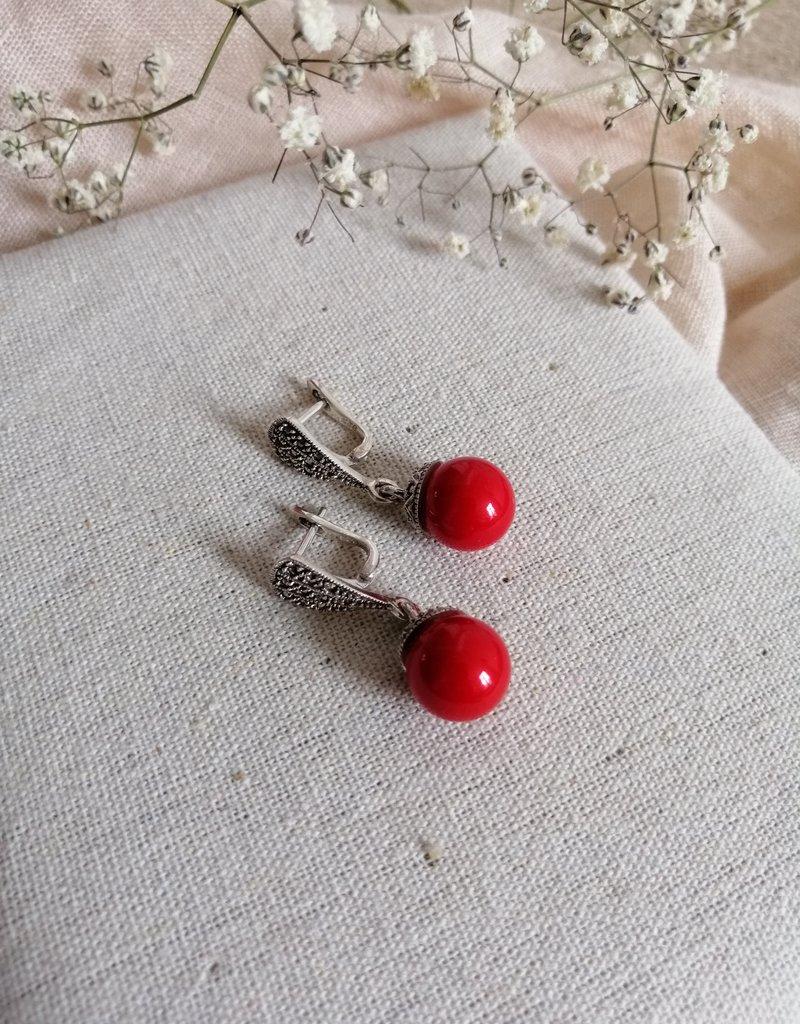 Earrings red agate